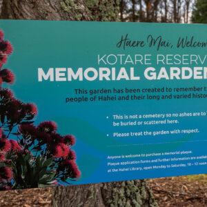 Hahei Beach Coromandel Memorial Garden Sign
